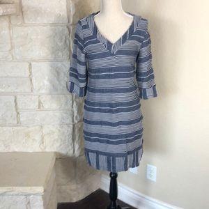 NWT Papillon Blanc Blue striped dress